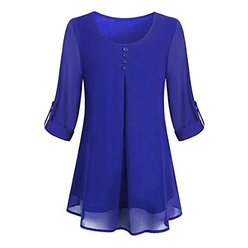 Damen Blusen Langarm Rundhals Bluse Einfarbig Chiffon Casual Button Down Oberteile Blusen Shirts Damen Sommer Elegante Langarmshirts Damen T-Shirts Tunika Tops 3XL