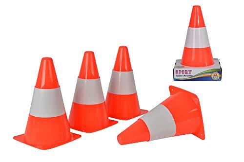 Simba Toys 107401522 Set di 4 coni di plastica, 23 cm, Colore: Bianco / Arancio