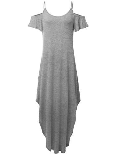 JayJay Women Casual U-Neck Off Shoulder Ruffle Sleeve Long Maxi Dress,HEATHERGRAY,S