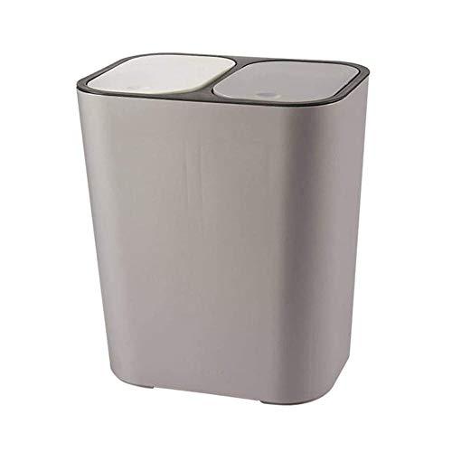 Afvalbak, dubbele emmer droge en natte afvalscheidingsbak met deksel, woonkamer keuken-Grijs