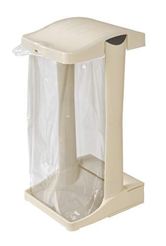 System - Müllsackständer * PREMIUM * mit integriertem Aufbewahrungsfach, 60-120 L perlweiß