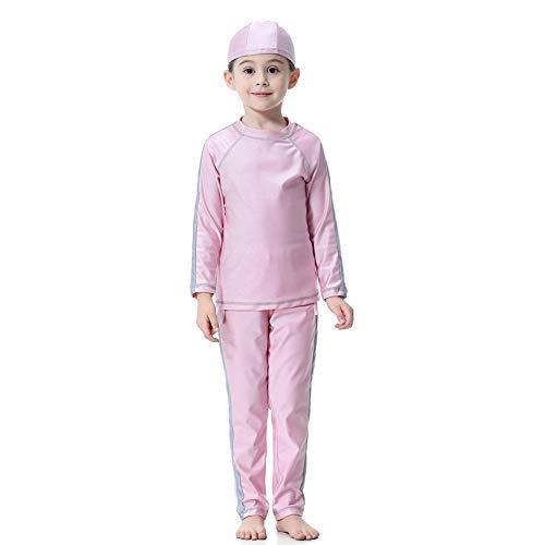 2-delige kleine meisjes Rash Guard pak moslim islamitische kinderen badpak Set lange mouwen Split badpak met hoed 90 roze