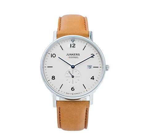 Junkers Eisvogel 6744-5 - Reloj de aviador de cuarzo, correa de piel, color marrón claro