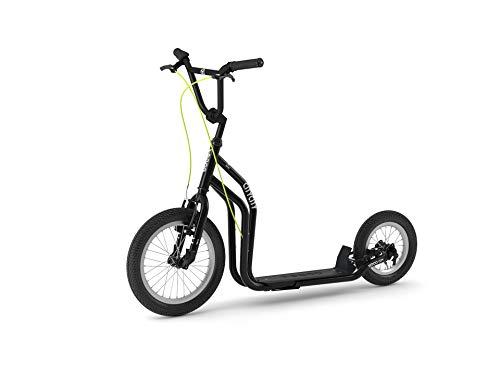 Yedoo City New Modell # Roller Tretroller Schwarz - Kickbike - mit Luftbereifung ab 140 cm- 178 cm Köpergröße bis 120 Kg Scooter kommt teilmontiert im Karton
