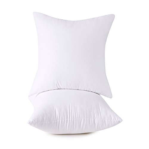 HOMESJUN Set of 2, 100% Cotton Down Alternative Decorative Throw Pillow Insert, Square, 18x18 Inch