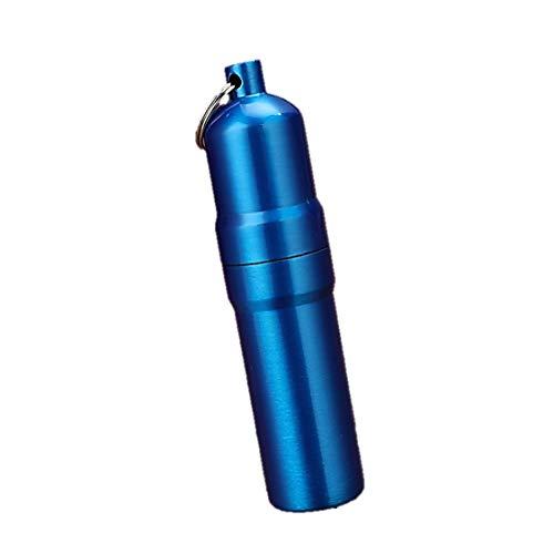 携帯 タバコケース ピルケース 防水ケース 薬ケース マッチ シガレットケース キーホルダー アルミ 5本 10本 (02 ブルー, 5本)