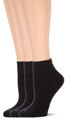 HUE Women's Cotton Body Crew Socks, 3 Pair Pack, Black, One Size -  U20738-001