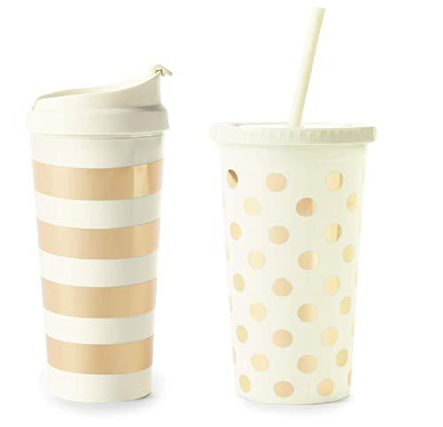 Kate Spade New York Set of 2 Gold Stripe 16oz Thermal Mug and Gold Dot Acrylic 20oz Tumbler with Reusable Straw