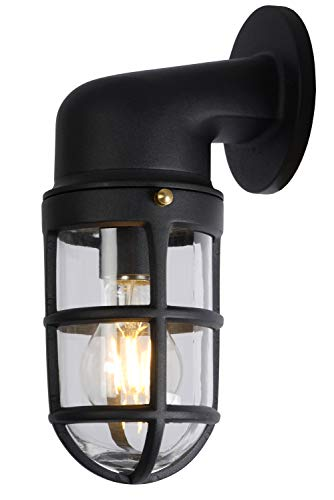 Lucide Dudley – Lámpara de pared exterior – 1 x E27 – IP44 – Negro