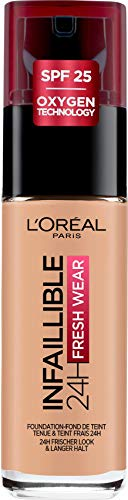 L'Oréal Paris - Fond de Teint Fluide Infaillible 24h Fresh Wear - Tous Types de Peaux - Teinte : Miel (235) - 30 ml