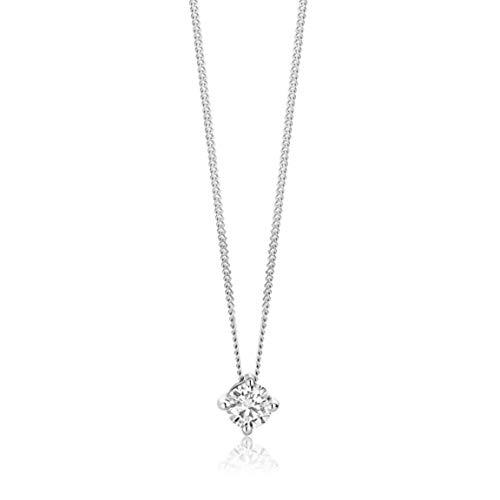 Orovi Collar para mujer de oro blanco de 0,15 quilates, diamante solitario brillante de 14 quilates (585), 45 cm de largo, hecho a mano en Italia