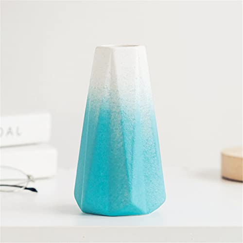 Minifamily Petit vase en céramique type origami pour arrangement de fleurs, décoration d'intérieur, vase de salon, centre de table, vase pour famille, Noël, mariage, dégradé bleu foncé