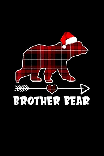 Red Plaid Buffalo Brother Bear Christmas Pajama Family Gift Notebook Journal 114 Pages 6''x9''