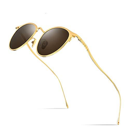 Diseño clásico Gafas de sol de titanio puro Hombres Vintage Pequeñas gafas de sol polarizadas redondas para mujeres Nuevas tonos REPLETOS REPLETOS UV400 Para uso en exteriores ( Lenses Color : Brown )