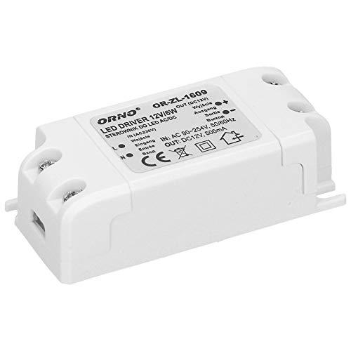 Orno Transformateur 12v (90VAC-254VAC à 12VDC) pour G4 MR11 MR16 GU5.3 LED Ampoules ou bandes de LED (6W-50W), IP20 (6W)