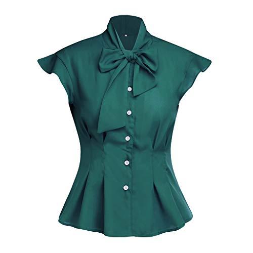 Andouy Damen Hemd Krawatte Fliege Eleganter Knopf-Rüsche-Kappen-Hülsen-Spitzen Gr.34-42 Büroarbeit-tägliche Bluse(XL(40),Grün)