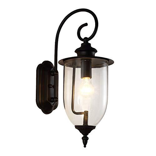 American Style Retro metaal zwart outdoor waterdichte wandlamp waterdichte industriële wandlamp glas transparant lantaarn tuin terras badkamer wandlamp