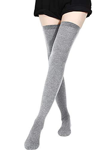 SATINIOR Extra Lange Socken Oberschenkelhohe Baumwollsocken Extra Lange Stiefelstrümpfe für Frauen (Hellgrau, 1)