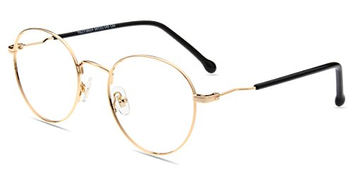 Firmoo Blaulichtfilter Brille Damen, Herren Blaufilter Brille ohne Sehstärke, Anti Blaulicht Computer Brille Blaulichtfilter Brille für Bildschirme, Runde Metallbrille Augenschutzbrille Gold