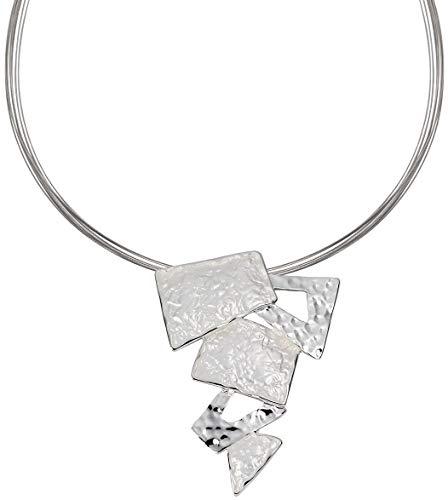 Perlkönig Kette Halskette | Damen Frauen | Silber Farben | Eckiger Anhänger | Nickelabgabefrei