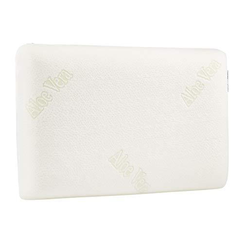 Amazon Basics - Almohada de espuma con memoria, de contorno, con aloe vera, 60 x 40 x 12 cm