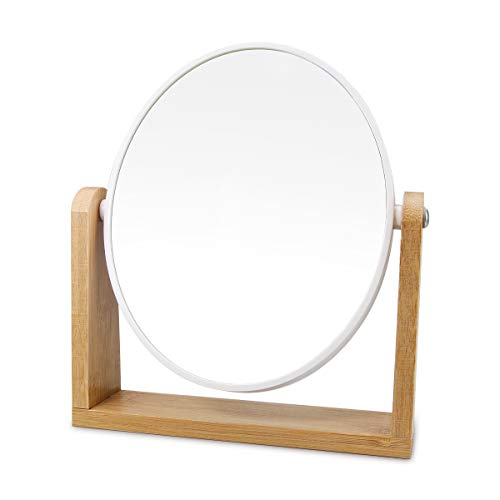 """1x/3x Magnification Vanity Makeup Mirror for Desk with Bamboo Stand,Double Sided 360°Rotation Magnifying Mirror,Portable Table Tabletop Mirror for Make Up,8"""" Small Standing Mirror for Desk(Round)"""
