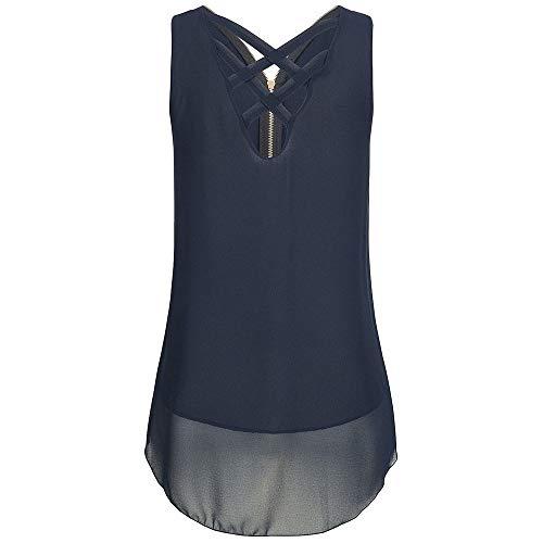 Chiffon Weste Top für Damen/Dorical Sommer Frauen Ärmellos Casual Tank Bluse Tops Schulterfrei Weiches Material Elegant Oberteil Locker Bluse Tops T-Shirt 8 Farben S-5XL Ausverkauf(Blau,XXX-Large)