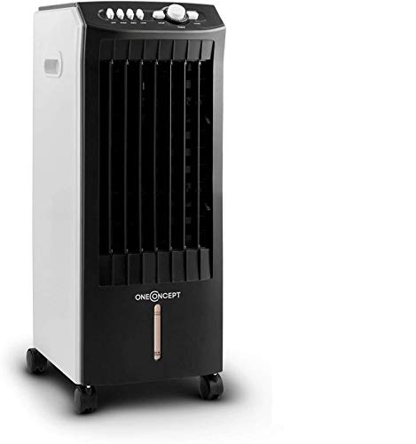 OneConcept MCH-1 V2-3-in-1 Air Cooler/Fan/Humidifier, 7-Litre Water Tank, 360 m? / h, Power: 65 Watts, 3 Power Levels, Oscillations, 3 Wind Speeds, 2 Interchangeable Cooling Packs, Mobile
