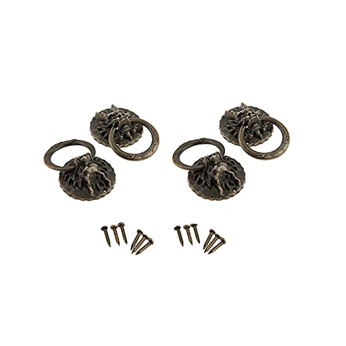 Dophee 4Pcs Antique Bronze Zinc Alloy Vintage Dragon Head Pull Handles for Door Cabinet Bin Wardrobe