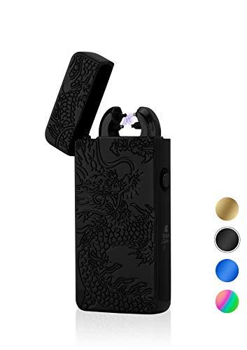 TESLA Lighter Tesla-Lighter T08 Lichtbogen Feuerzeug, Plasma Double-Arc, elektronisch wiederaufladbar, aufladbar mit Strom per USB, ohne Gas und Benzin, mit Ladekabel, in edler Geschenkverpackung, Drache 3D Schwarz Schwarz