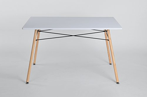 Furniturer rettangolare tavolo da pranzo bianco MDF top tubo metallico per piccoli kitchen-120x 80x 72cm