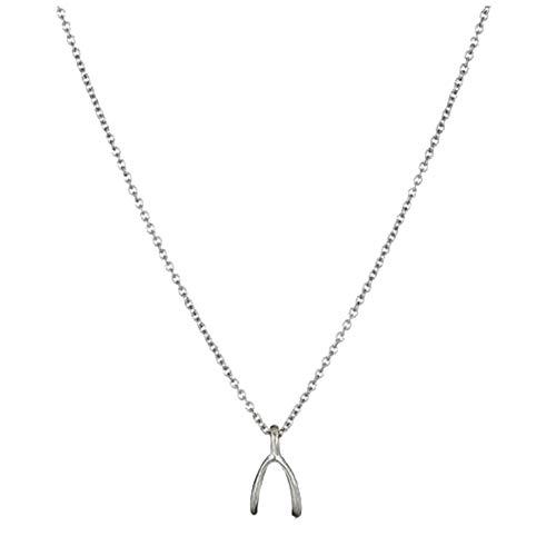 Nowbetter Collar con colgante de hueso de la suerte, cadena de clavícula corta, accesorios de joyería para mujeres y niñas, plata