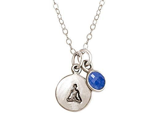 Gemshine YOGA Halskette aus 925 Silber, vergoldet oder rose. 1,5 cm Yoga Lotus Anhänger mit blauem Saphir. Nachhaltiger, qualitätsvoller Schmuck Made in Spain, Metall Farbe:Silber