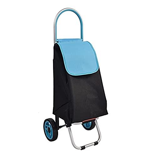 HEZHANG Carrito de Compras Carrito de Compras Plegable en Ruedas Portátiles Carrito de Equipaje Organizador Trolley Bolsa para la Colcha Libro de Lavandería Equipaje Viajes de Compras Trolleys,Azul