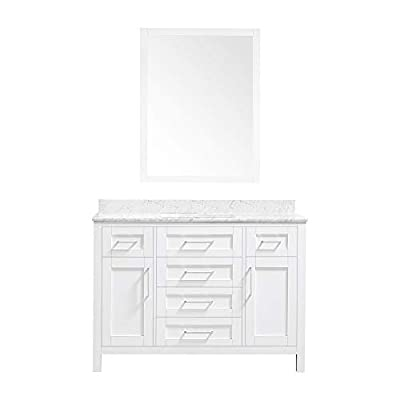 Ove Decors Tahoe 36W Marble Top Single Bathroom Sink Vanity, 36-Inch by 21-Inch, White