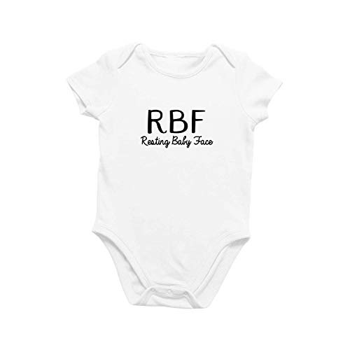 Onesie Organic Baby One Piece Short Sleeve Funny Cute Trendy Minimal Bodysuit 0-12 Months - RBF Resting Baby Face (0-3 Months)