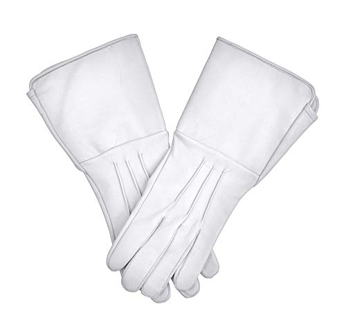 Medieval Gauntlet leather cosplay gloves long arm cuff (White, Large)