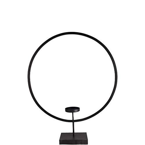 PARTS4LIVING Metallring mit Teelichthalter Kerzenhalter zum Aufstellen Kerzenständer rund skandinavisches Design schwarz 25x6,5x35,5cm