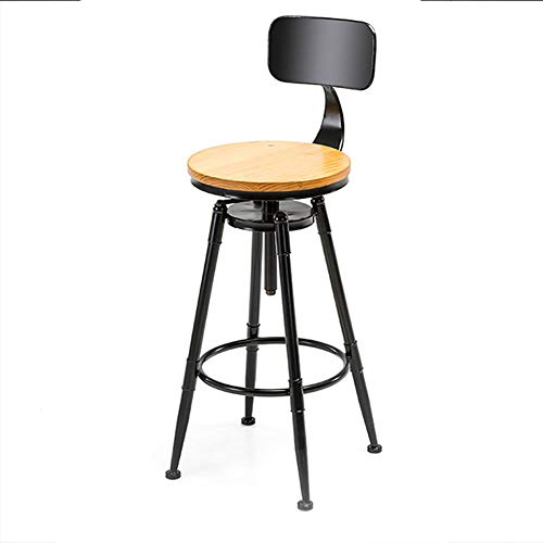 JHWX Industrial Barstool, Bar Stools Dinning Chair with Large Chrome Footrest and Base, Ergonomics Design, Height-Adjustable to 112 cm, Black/Brown