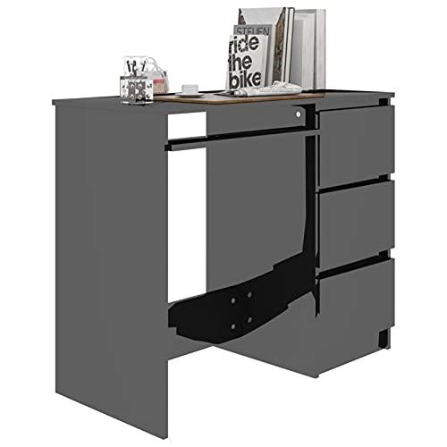 INOOY Computer PC Escritorio para Computadora Portátil con Cajones De Almacenamiento, Escritorio De Oficina con Estaciones De Trabajo del Gabinete De Archivos Escritorio,Negro
