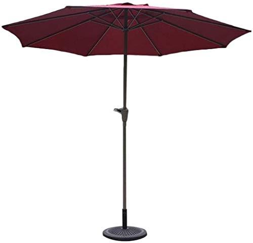 Sombrilla Parasol Jardin Tabla Sombrilla de 9 pies UPF 50+ Superior al Aire Libre, Paraguas de Mercado con manivela for jardín, terraza, jardín y Piscina sin Base a Prueba de Viento (Color : Red)