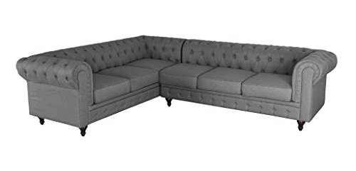 Container Furniture Direct Shonda Fabric Upholstered Button-Tufted Two (2) Piece SECTIONAL Sofa & Right-Facing Chaise, Grey, Dark Grey