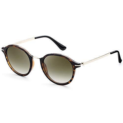 Elegear Gafas de Sol Mujer Retro Gafas vintage Redondas 100% Protección UV400 UVA Gafas Verano 2018 Ultraligero Cómodo-Gafas Leopardo 03