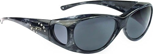 Fitovers Eyewear Lotus Sunglasses with Swarovski Elements on temples (Blue, Gray)