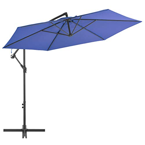 vidaXL Ampelschirm mit Alu-Mast Entlüftung Kurbelmechanismus Sonnenschirm Gartenschirm Strandschirm Schirm Balkon Terrasse 300cm Blau