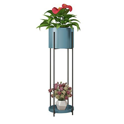 Home warehouse Fer Art Porte-Pot de Fleur, Salon Plancher-Debout Plante Porte-conteneurs Balcon Fleur Stand intérieur étagère d'angle canapé latéral étagère,Blue,23 * 85CM