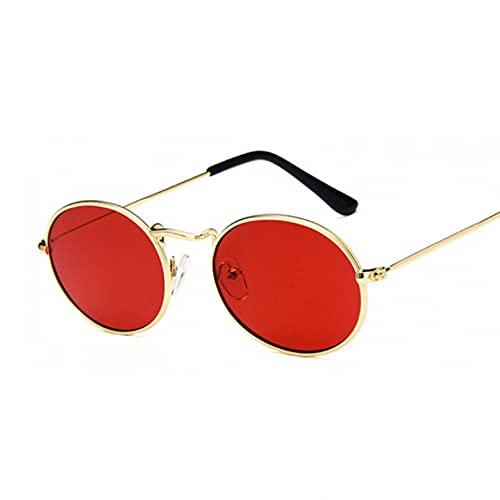 Q4S Gafas De Sol Ovaladas para Mujer, Pequeñas, Negras, Rojas, Amarillas, con Sombra, Gafas De Sol para Mujer Uv400,DoradoRojo