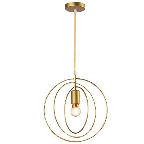 E27 Vintage Lampada a Sospensione Metallo Vintage Industriale Lampadario Lampada a Soffitto in Metallo Plafoniera per Sala Bar,Ombra Diametro 30cm,D'oro