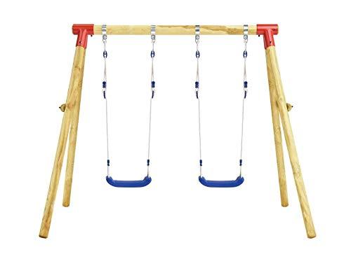 Zerone Estructura de columpio infantil, columpio doble de madera de pino, con cuerdas ajustables, 230 x 130 x 166 cm, marrón y azul