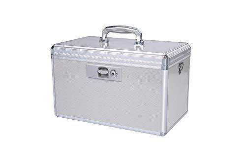 Hewei Durable Empty Medicine Box Storage Box Lock Box for Storage Collection Portable Lockable with Removable Sticker Tray Shoulder Strap (X-Large )